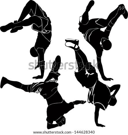 breakdance silhouette break dance - stock vector