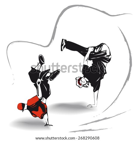 breakdancing design - stock vector