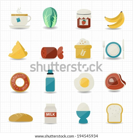 Breakfast and Food Icons - stock vector