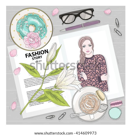 Breakfast background magazine, coffee, flower. Cute flat lay fashion illustration. fashion, fashion, fashion, fashion, fashion, fashion, fashion, fashion, fashion, fashion, fashion, fashion, fashion