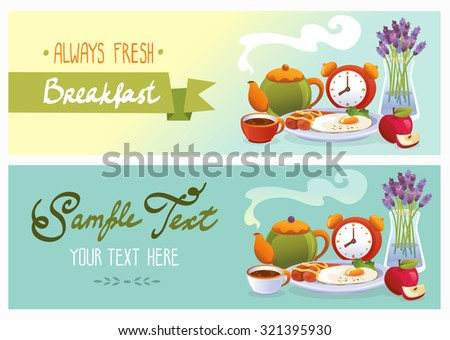 Breakfast banner set wit tea, cake, eggs, fruits and flowers. Vector illustration