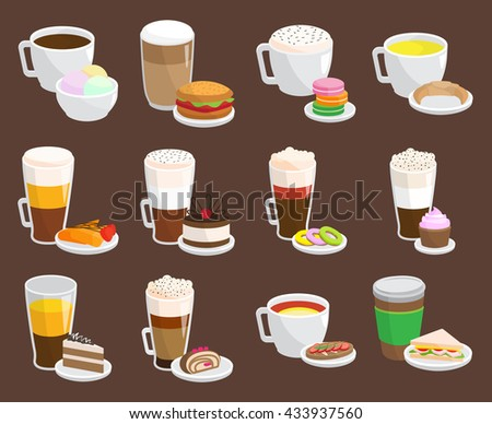 Breakfast coffee snack and coffee snack with croissants. Morning delicious coffee snack and fresh croissant french sweet coffee snack. Coffee snack tasty cafe cake and hot drink cup set. - stock vector