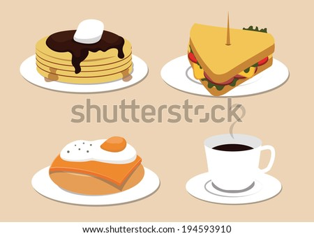 breakfast elements and dishes. vector illustration.  - stock vector