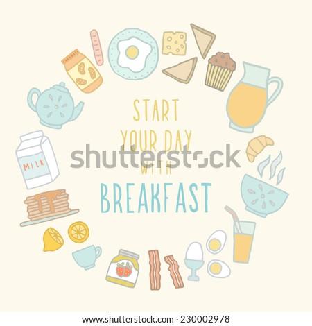 Breakfast food and drink. - stock vector