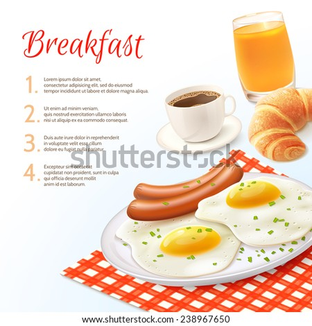 Breakfast food background with realistic coffee cup orange juice glass croissant fried eggs and with sausage vector illustration - stock vector