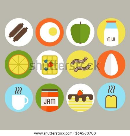 Breakfast food icons - stock vector