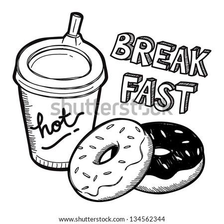 Breakfast food in doodle style - stock vector