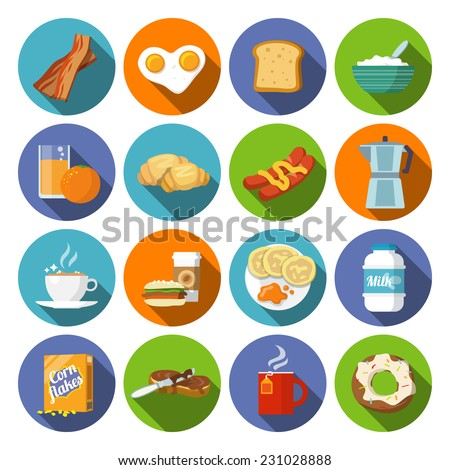 Breakfast fresh food and drinks flat icons set with coffee donut fruit juice tea cup isolated vector illustration - stock vector