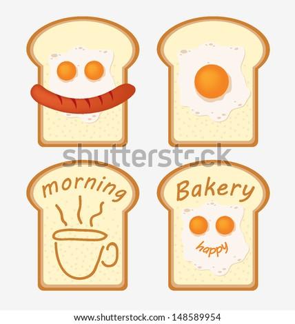 Breakfast. Fried egg. Sausage. bread vector illustration. - stock vector