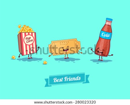Breakfast. Funny characters  camera, ticket, and glasses. Best friends set. Vector illustration - stock vector