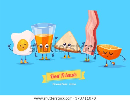 Breakfast. Funny characters egg bacon bread coffee and orange juice . Best friends set. Vector illustration. Funny food. Vector cartoon illustration. Cute stylish characters. - stock vector
