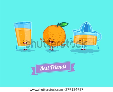 Breakfast. Funny characters orange, juice, glass. Best friends set. Vector illustration