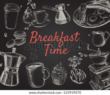 Breakfast Hand Drawn Set Vector illustration