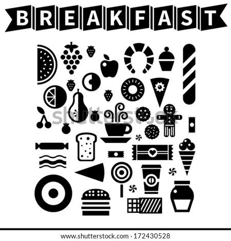 Breakfast icon set - stock vector