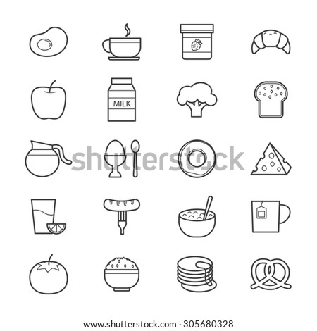 Breakfast Icons Line - stock vector