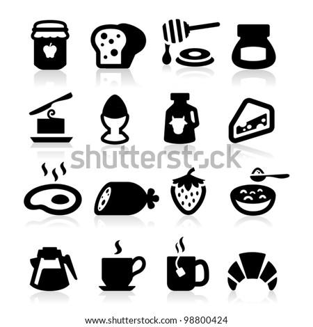 Breakfast Icons set elegant series - stock vector