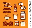 Breakfast icons, vector illustration. - stock vector