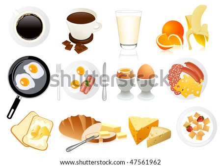 Breakfast icons, vector illustration - stock vector