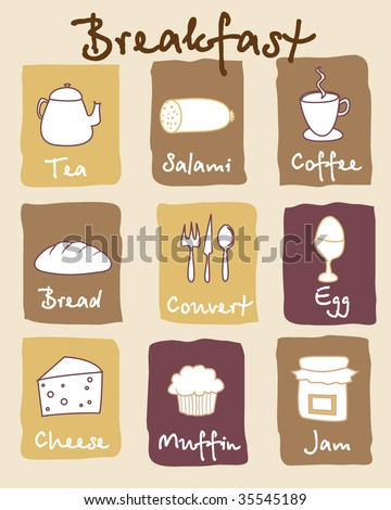 Breakfast icons. Vector Template.