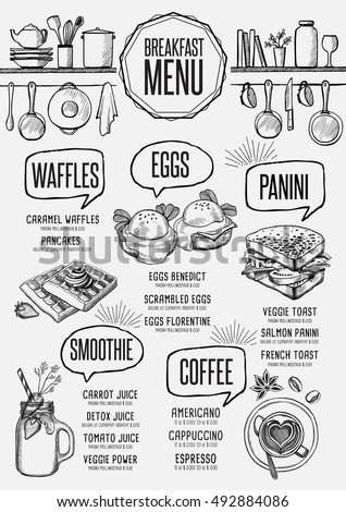 breakfast menu placemat food restaurant brochure template design vintage creative dinner flyer with hand