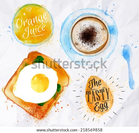 Breakfast painted watercolor toast with scrambled egg orange juice a cup of coffee - stock vector