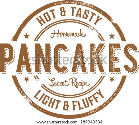 Breakfast Pancakes Vintage Style Stamp Sign - stock vector