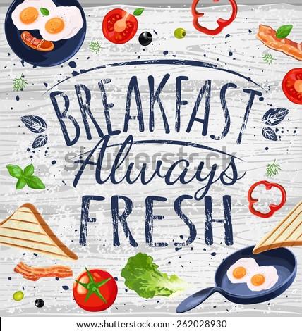 Breakfast poster chalkboard. Fried eggs, sausage on pan, ingredients for breakfast. Vector illustration.  - stock vector