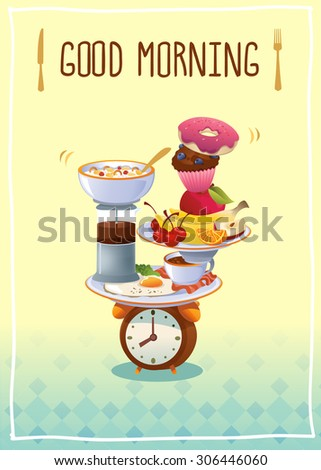 Breakfast Poster with eggs ,coffee, fruits and cupcake. Vector illustration. - stock vector