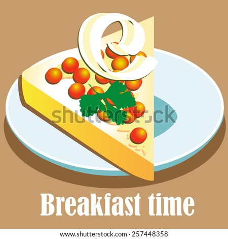 breakfast sandwich with butter and caviar. vector illustration - stock vector