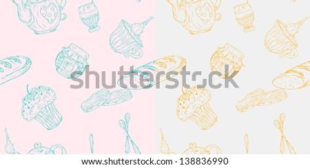 Breakfast seamless hand-drawn. - stock vector