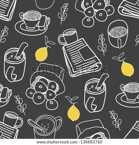Breakfast seamless pattern. Vector illustration on the black background - stock vector
