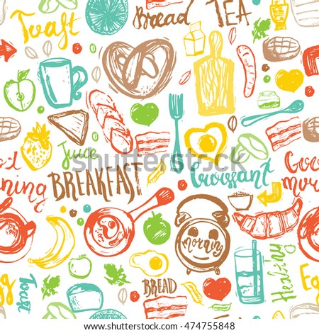 Breakfast seamless pattern with bread, porridge, coffee, eggs and lettering. Can be used for menu, banner,breakfast background and site header. Hand drawn breakfast meal.