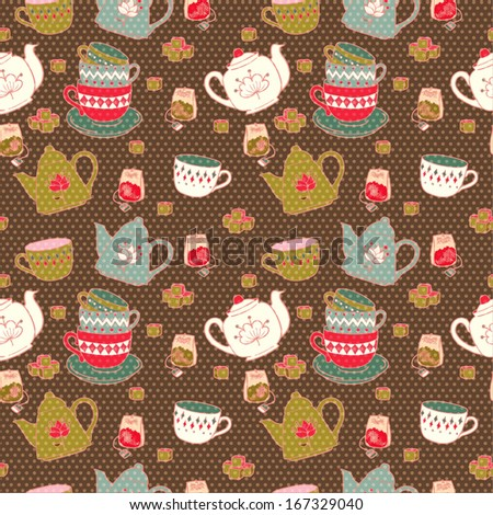 Breakfast seamless pattern with tea pots, cups, sugar and teabags. Hand drawn kitchen texture on polka dot background. - stock vector