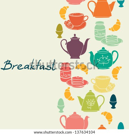 Breakfast seamless pattern with tea pots, pancakes, jam, eggs, croissants, and coffee. Vector illustration.