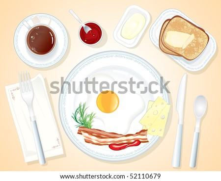 Breakfast served on table-include french toast, butter, fried egg, jam, bacon and coffee (separated vector objects) - stock vector