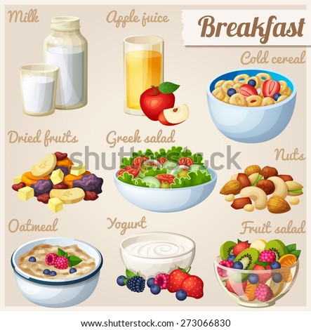 Breakfast 2. Set of cartoon vector food icons. Milk, apple juice, cold cereal, nuts, dried fruits, Greek salad, oatmeal, yogurt, fruit salad.  - stock vector