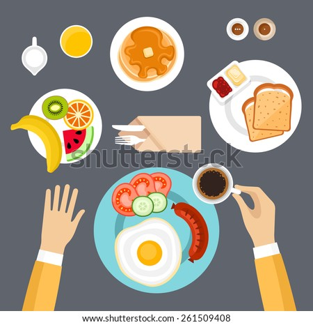 Breakfast set. Top view. - stock vector