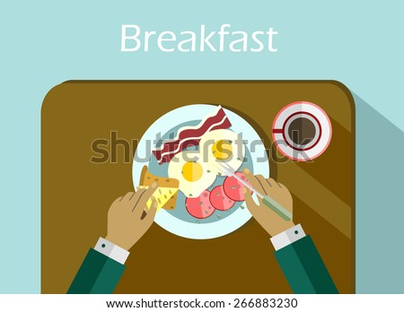 Breakfast set top view. Coffee, fried egg, bacon. Morning breakfast menu  in flat style - stock vector