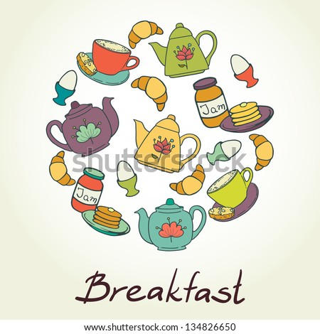 Breakfast set with coffee cup, croissant, boiled egg, tea pots, jam and pancakes. Vector illustration.