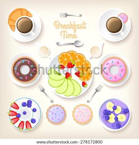 Breakfast time background. Vector Illustration, eps10, contains transparencies. - stock vector