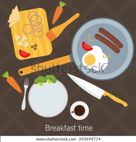 Breakfast time. Fried eggs making process, preparing food. Flat design vector - stock vector
