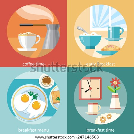 Breakfast time. Fried eggs with cup of coffe. Coffe time in flat design concept - stock vector