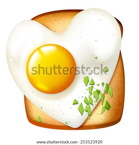 Breakfast vector illustration, morning meal, toasted sandwich with fryed egg, realistic  food icon - stock vector