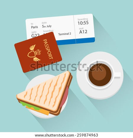 Breakfast with coffee and sandwich at airport vector