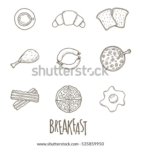 Breakfest hand drawn icon set over white background. Doodle illustration