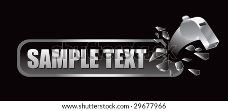 breaking banner with referee whistle - stock vector