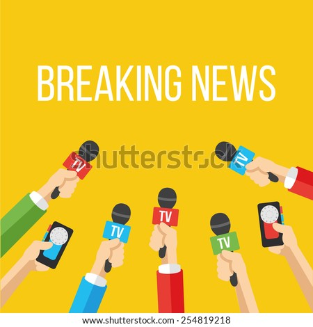 Breaking news flat style vector illustration. Creative graphic design concept. Mass media industry signs, symbols, objects, icons, abstract elements. Trendy yellow background. - stock vector