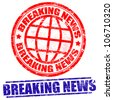 Breaking news grunge stamps on white, vector illustration - stock photo