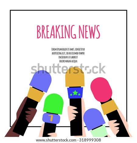 Breaking news. Reporters interviewed. Five hands with microphones. Flat style. Stock vector. - stock vector