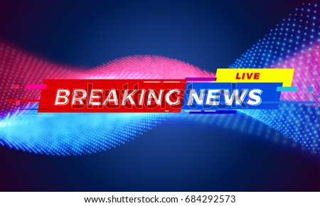 Breaking News title template for TV screen background. Live news tag bar modern red and blue vector light wave motion effect for television. Blue and red tv template layout illustration